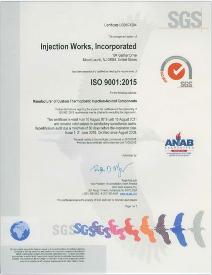 Injection Works Earns ISO 9001:2015 Quality System Certification